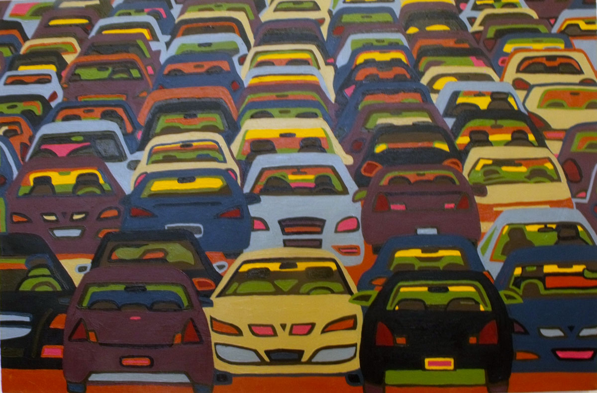 """Car Lot"", oil on canvas, 24"" x 36"""
