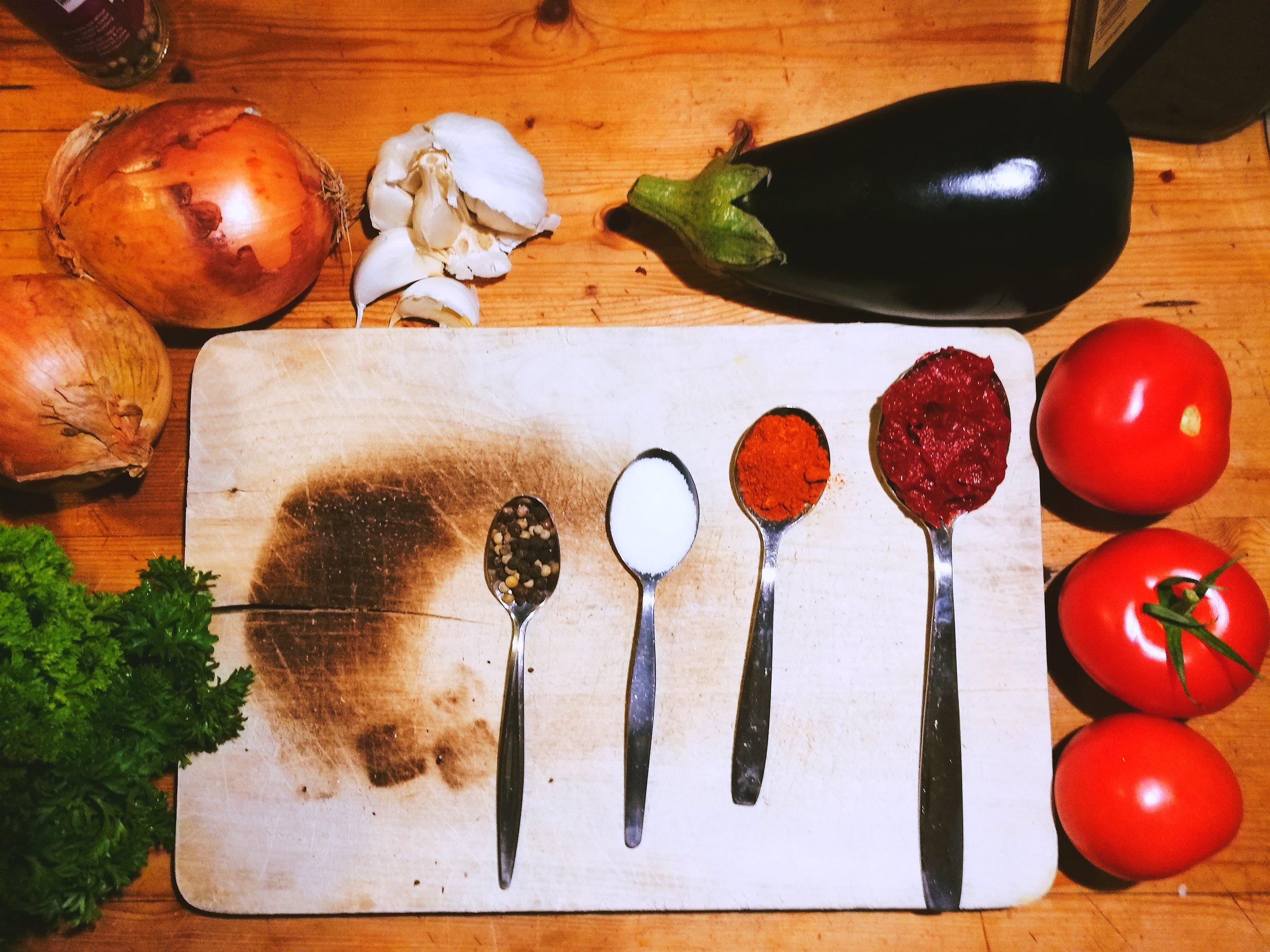 Aubergine Salat Zutaten