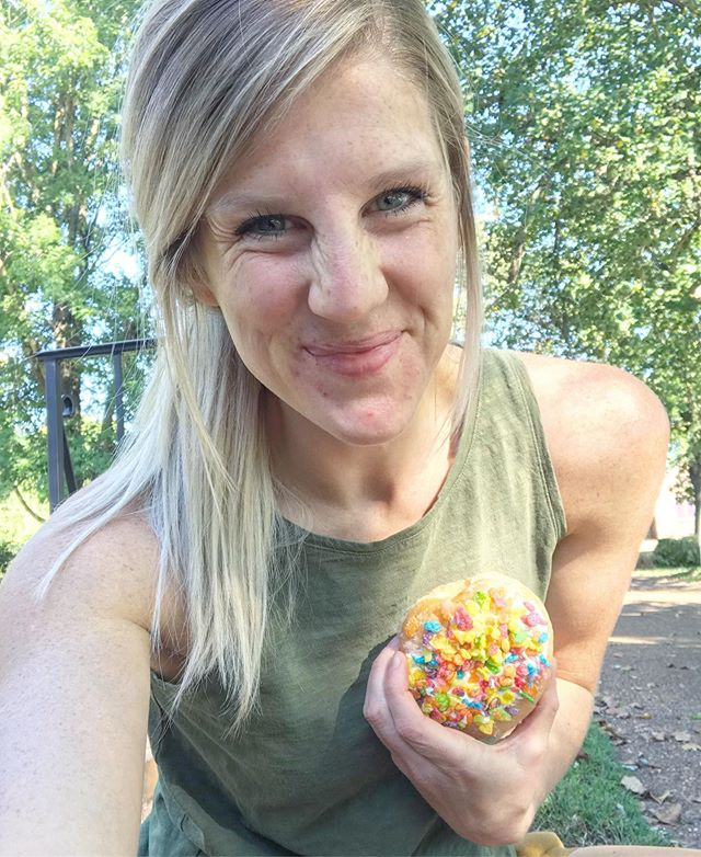 Let's talk cheats since I know people like me get judged and tossed into all sorts of categories.  First of all, I do call them CHEATS and not just treats because I use them well - and they actually help me cheat the system. And by system, I mean my own hormones and fat loss plateaus.  Hear me out, I'm not saying this donut is GOOD for me, but I am saying I am a human who loves a good donut, so when I eat one, I make it work for me and not against me.  Here's how:  I've been on a very small calorie deficit ALL week long with a perfect mix of high quality protein and carbs and fats - using a plan that's adjusted to my needs so it's just enough to keep my progress going strong and still have energy.  If I stayed that way constantly, my body would get to used to it and my hormones would tell my body to LOWER my metabolism to adjust. Babes, that's called a plateau and don't we all hate that?? By scheduling in this CHEAT, it tricks my body into revving up my metabolism again because of the calorie surplus and resets my body to start burning again.  So I've been planning on this all week (planning is KEY) and I enjoyed it, didn't feel like I was out of control and binging, and I don't even feel sick or yucky because it was a CONTROLLED and planned moment of enjoyment.  I say this wholeheartedly- if you're struggling to find a balance and what works for you, this nutrition system is WHERE ITS AT.  I actually literally guarantee it or I give your money back, so stop playing.