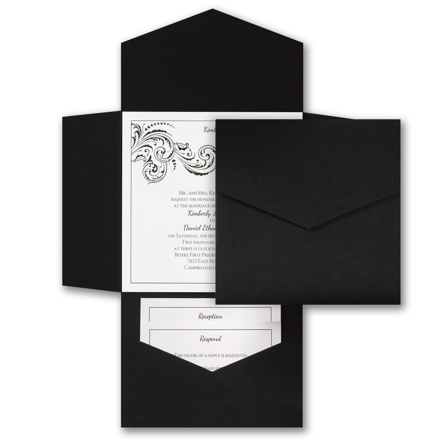 Black and White Pocket - Invitation    Item Number:WRN9685DA