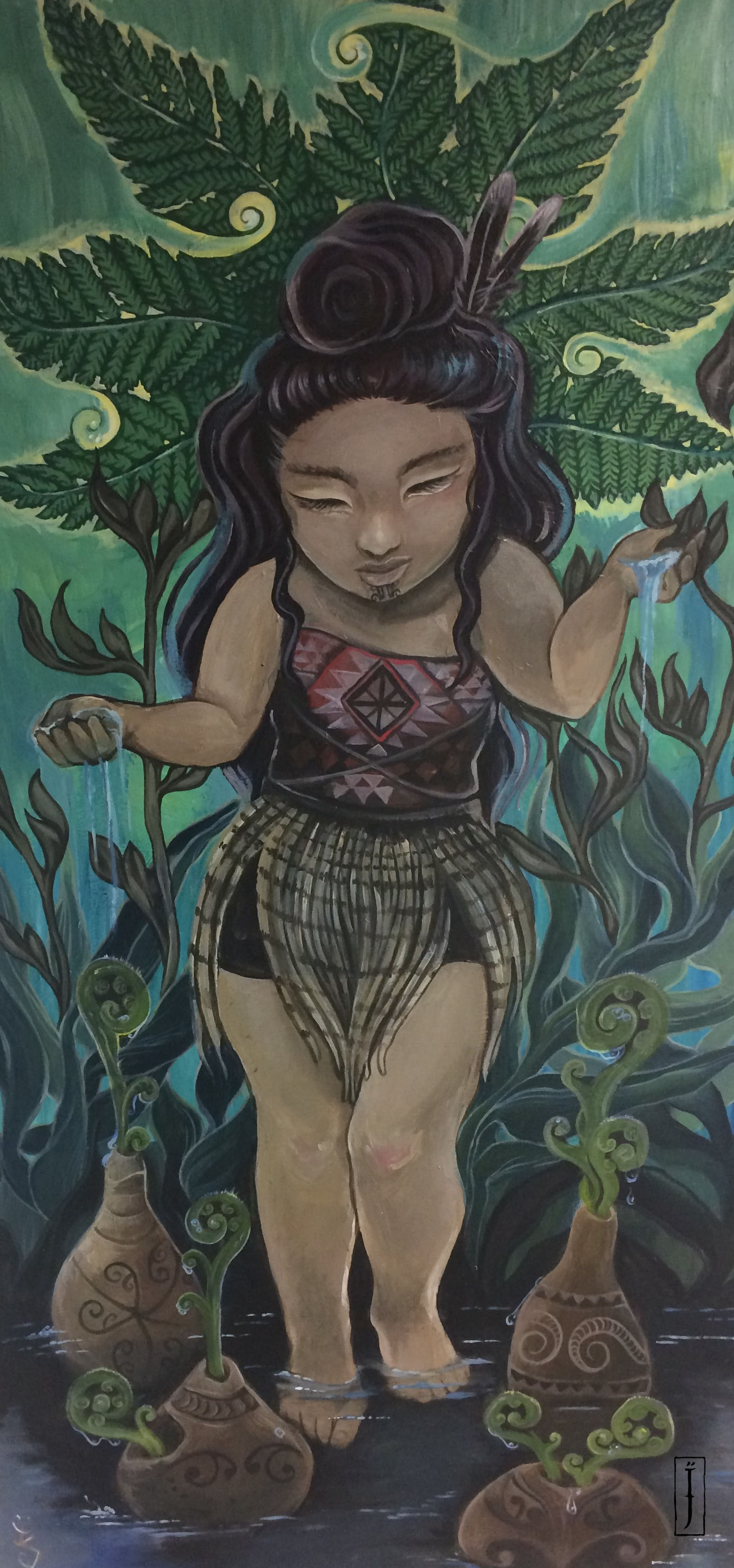 'E tū, Hine-pū-te-hue'  by Isobel Joy Te Aho-White. Click   here   to learn more about this artwork.