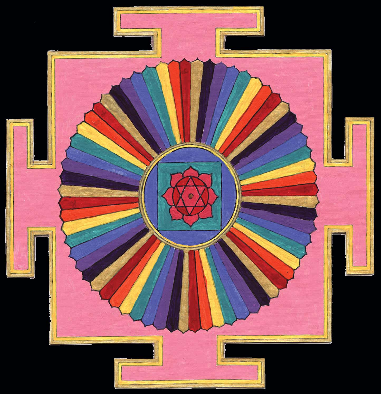 Tantric Yantra - If you look in the center you'll see a triangle with a dot in the middle - this is the sacred image of where the energies of the first and second chakras meet. It is said that sleeping energy lies here dormant waiting to be woken and to rise up the spine to weave our internal masculine and feminine energies.