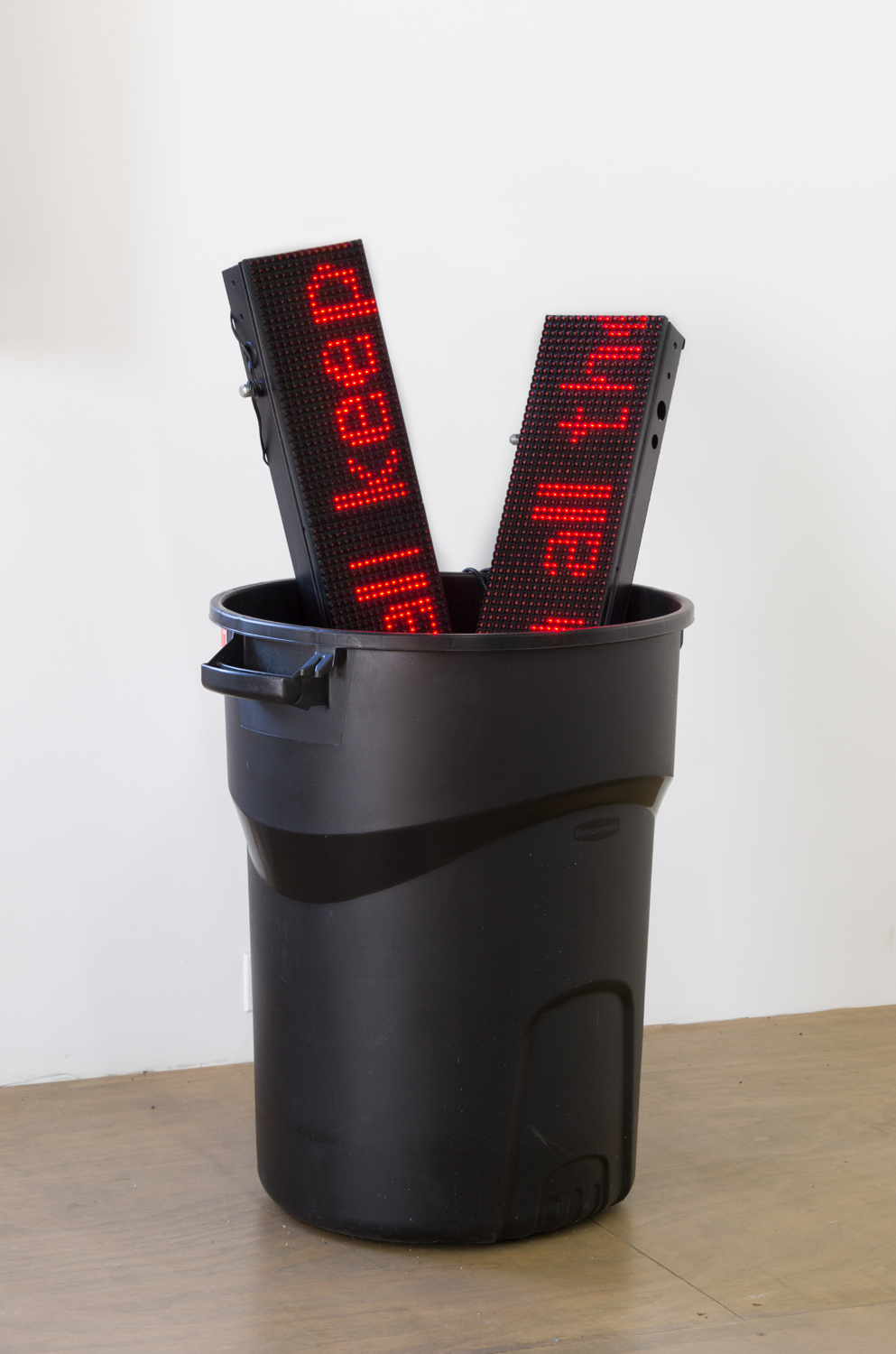 I love him who keeps back no drop of spirit for himself (Kanye Stream)  , 2017 Red LED banners, plastic trashcan, moving blanket 25 x 26 x 44 inches 63.5 x 66 x 111.8 cm