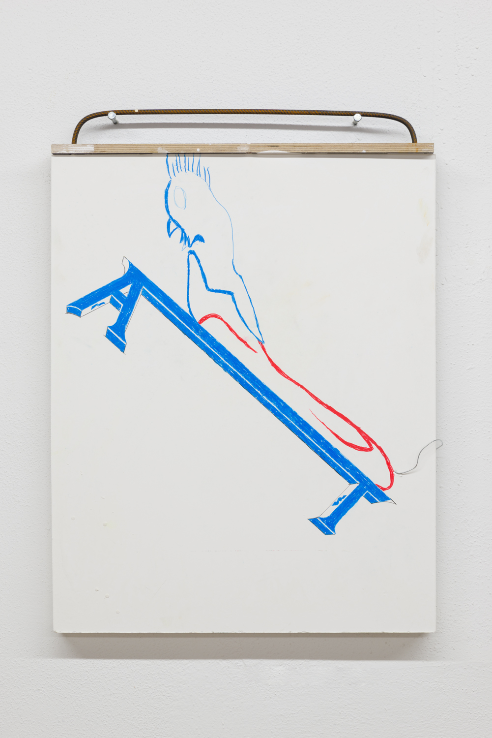 Why New French Art Is Lousy , 2017 Colored pencil on plaster, rebar, formwork board 82.5 x 60.5 x 8 cm ; 32 1/2 x 23 3/4 x 3 1/4 in