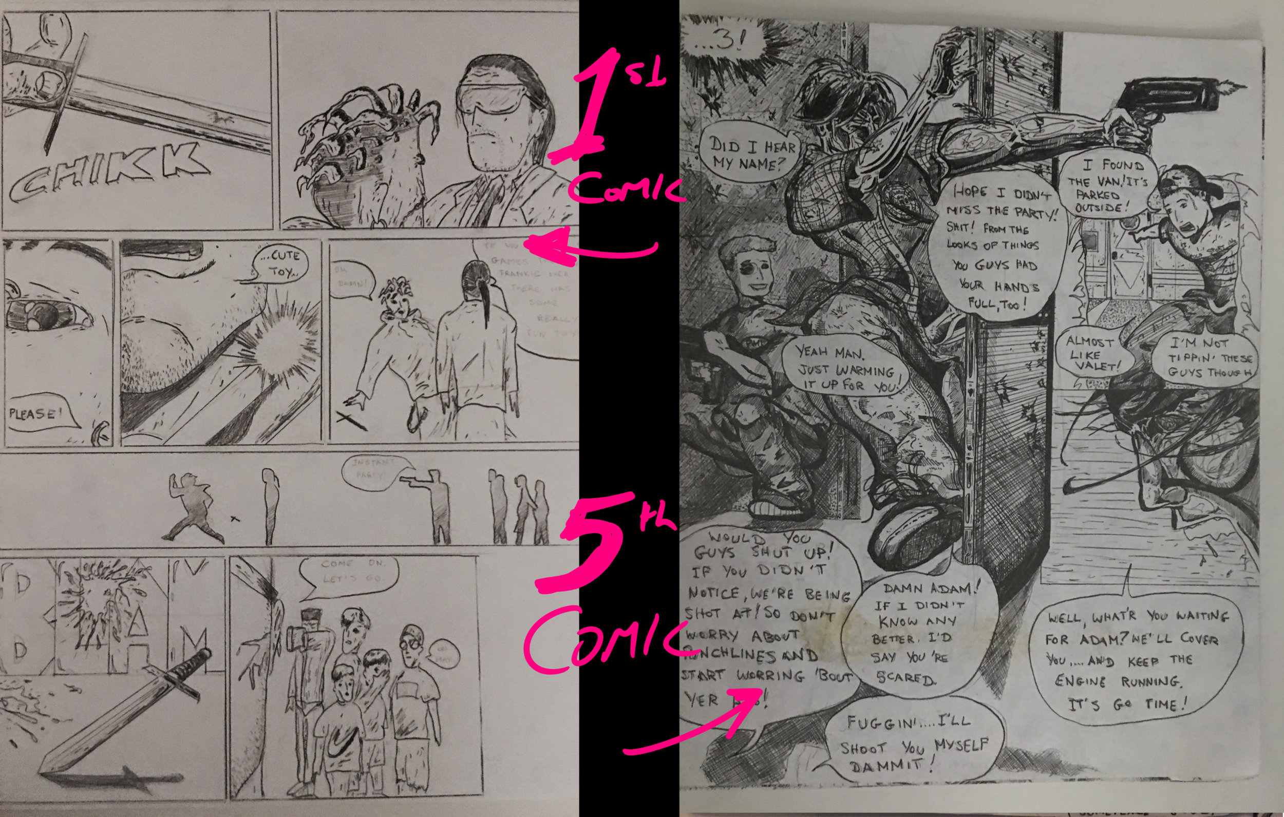 The PunX - the comic I made as a teenager. Comparing Issue #1 vs Issue #5