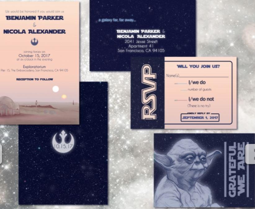 Custom wedding invites Star Wars