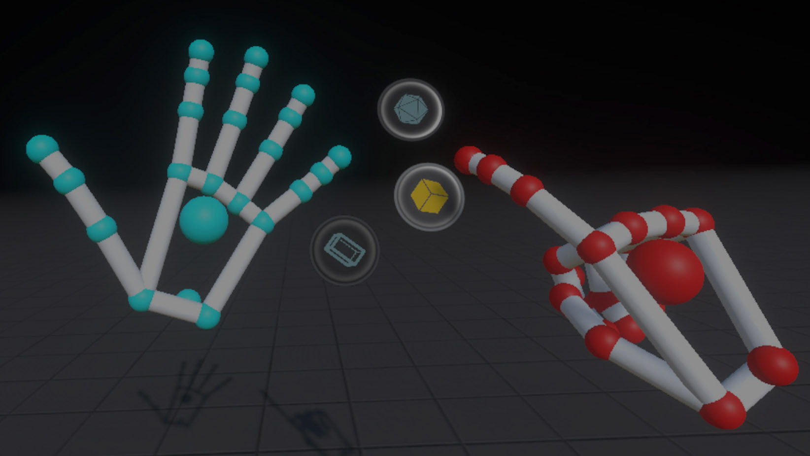 The hand interface from Blocks. Buttons only appear when your left hand is in this position.