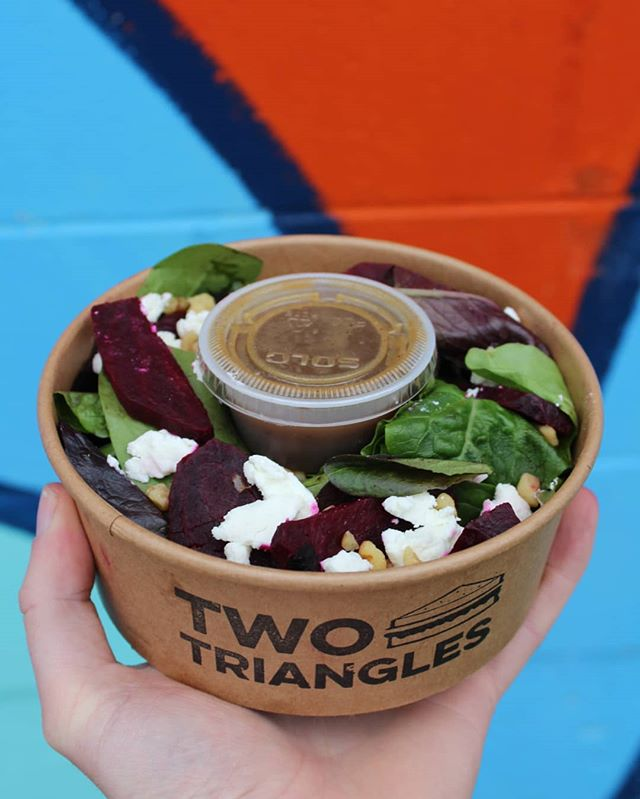 Trying to slow down on those sweet, delicious carbs? Don't worry, you don't have to give up flavour. Our Purple Goat Salad with beets, goat cheese, and toasted almonds is a heckin tasty alternative for when you need a bread break. . . . . . . #salad #goatcheese #beets #eatyourveggies #skipthedishes #foodee #twotriangles #vancouver #vancityeats #vancouverfood #yvr #yvrfood #yvrtreats #food #yummy #foodporn #instafood #delicious #foodie #sandwich #sandwiches #sandwichporn #foodgasm #foodpic #yum