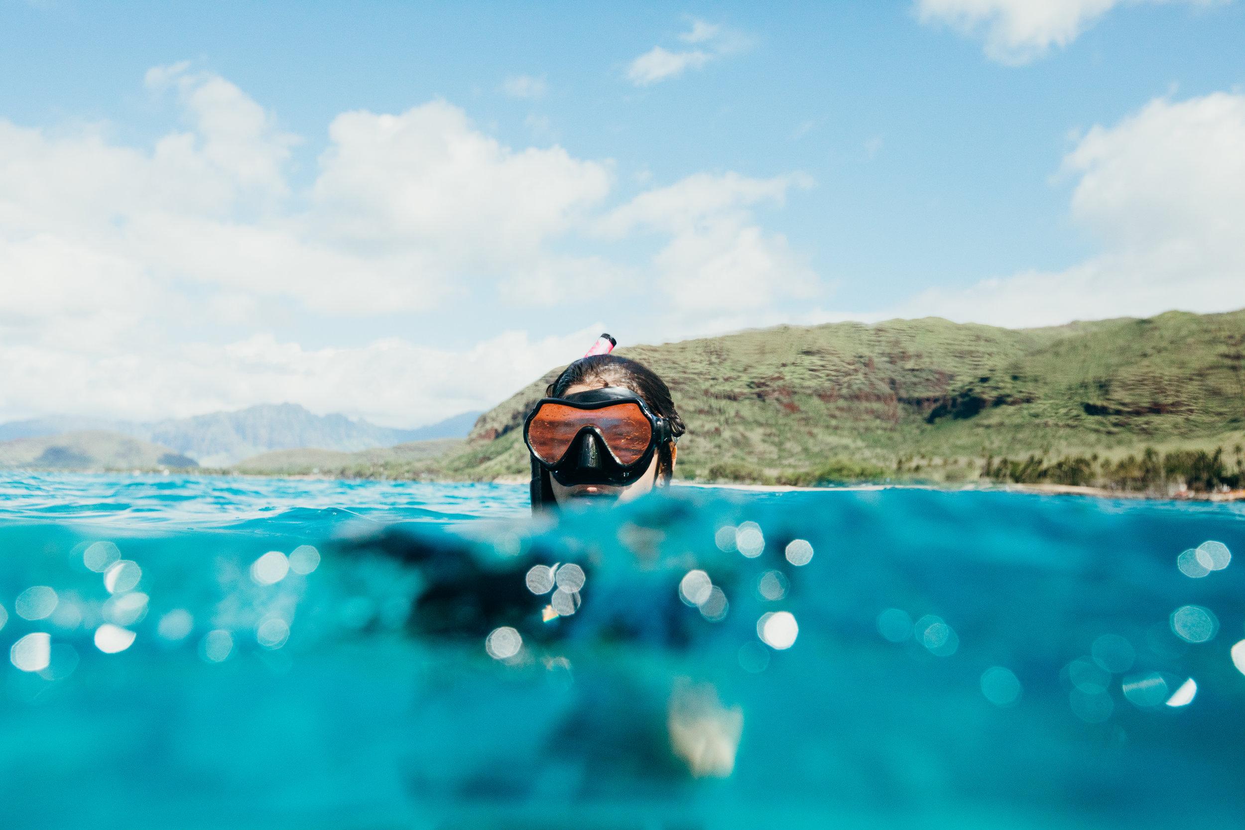 Snorkeler at Electric Beach