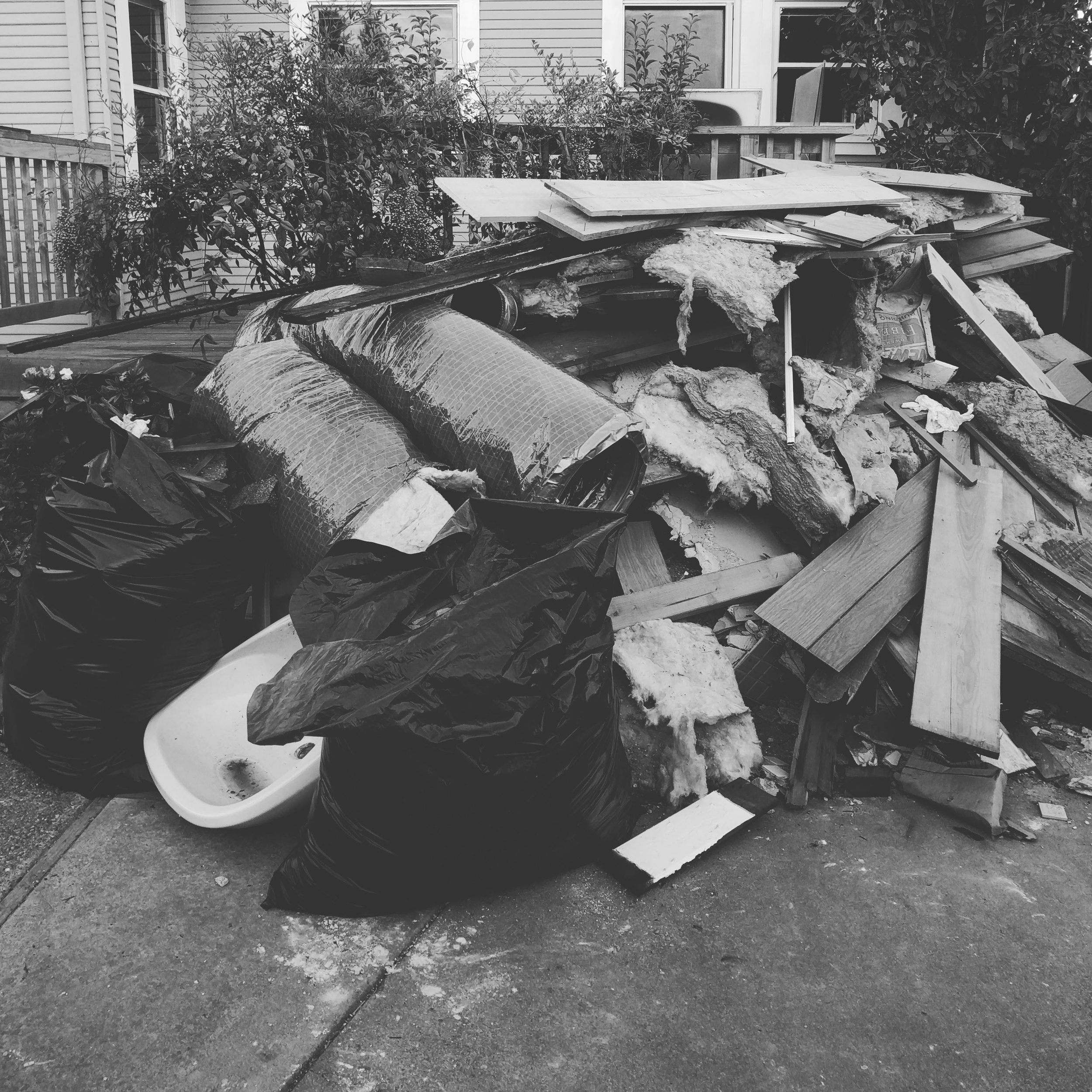 One of the garbage piles