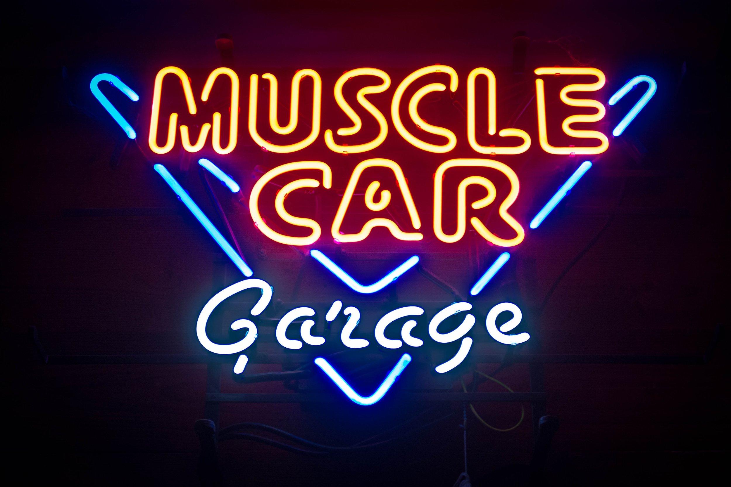 Muscle Car Garage Neon Bar Sign