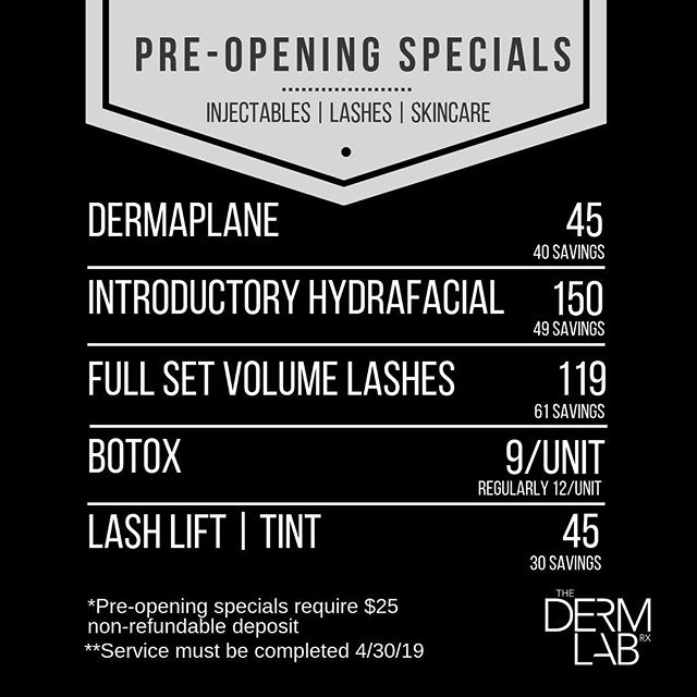 🎉🎉||Pre-Opening Specials || 🎉🎉 To celebrate our move to the East Valley, we are offering amazing promotions on these services/treatments for a limited time! 🙌 📞 480-616-3001•info@dermlabrx.com • • • • • #thedermlabrx #gilbertlashes #chandlerlashes #dermaplane #lashlift #ocotillofriends #gilbertnow #livingchandler #botox #gatherloft #chandlerbotox #gilbertbotox #treatyoself #filler #cosmeticinjector #chandlerinjector #gilbertinjector #skincareaddict #gilbertlashextensions #chandlerlashextensions