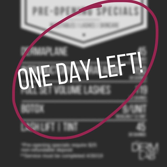 ➡️ One day left ⬅️ to take advantage of our pre-opening specials and our schedule is filling up fast! ▪️ 📞480-616-3001 ✉️info@dermlabrx.com • • • • • #thedermlabrx #gatherloft #gilbertnow #ocotillofriends #chandlerliving #gilbertlashextensions #gilbertlashes #chandlerlashes #chandlerlashextensions #gilbertskincare #chandlerskincare #dermaplaning #botox #dermalfillers #treatyoself #chandlerskincare #cosmeticinjector #skincareaddict #lashlift