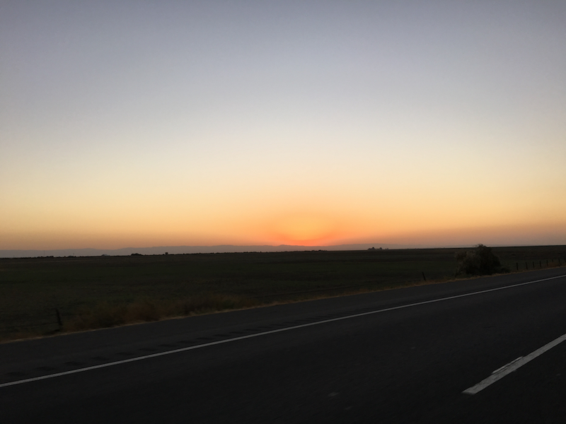 Sun setting from the 5 freeway on my move back down to LA.