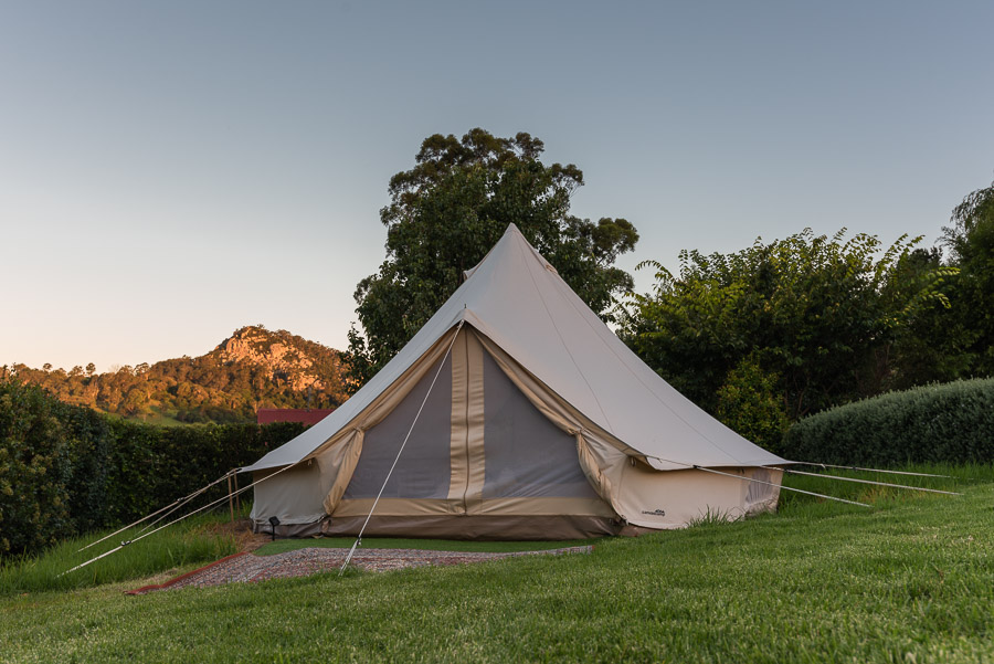 The Tent House - Gulaga: Queen size bed, picnic basket, esky, fire-pit, lanterns and views.