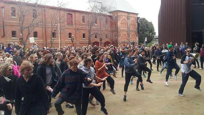 A dance protest at the Australian Centre for Contemporary Art. Twitter pictures: Chris Johnson
