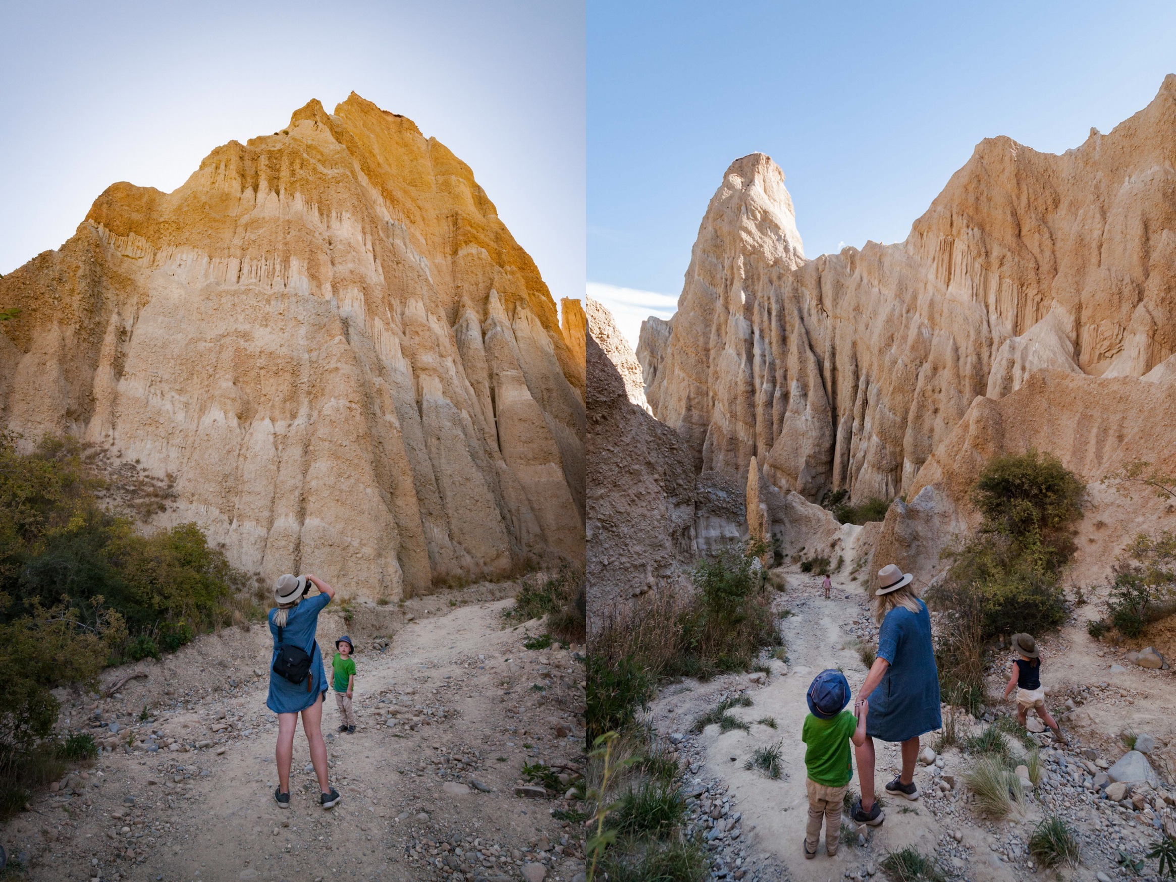 Exploring the Clay Cliffs, Omarama. Photos by  Sarah Drummond
