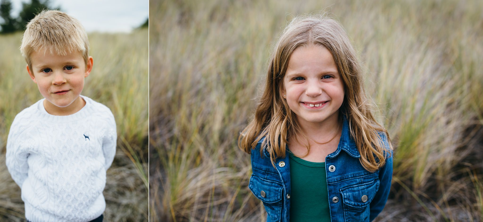 kara chappell whidbey island family photography brother and sister smile and laugh in field