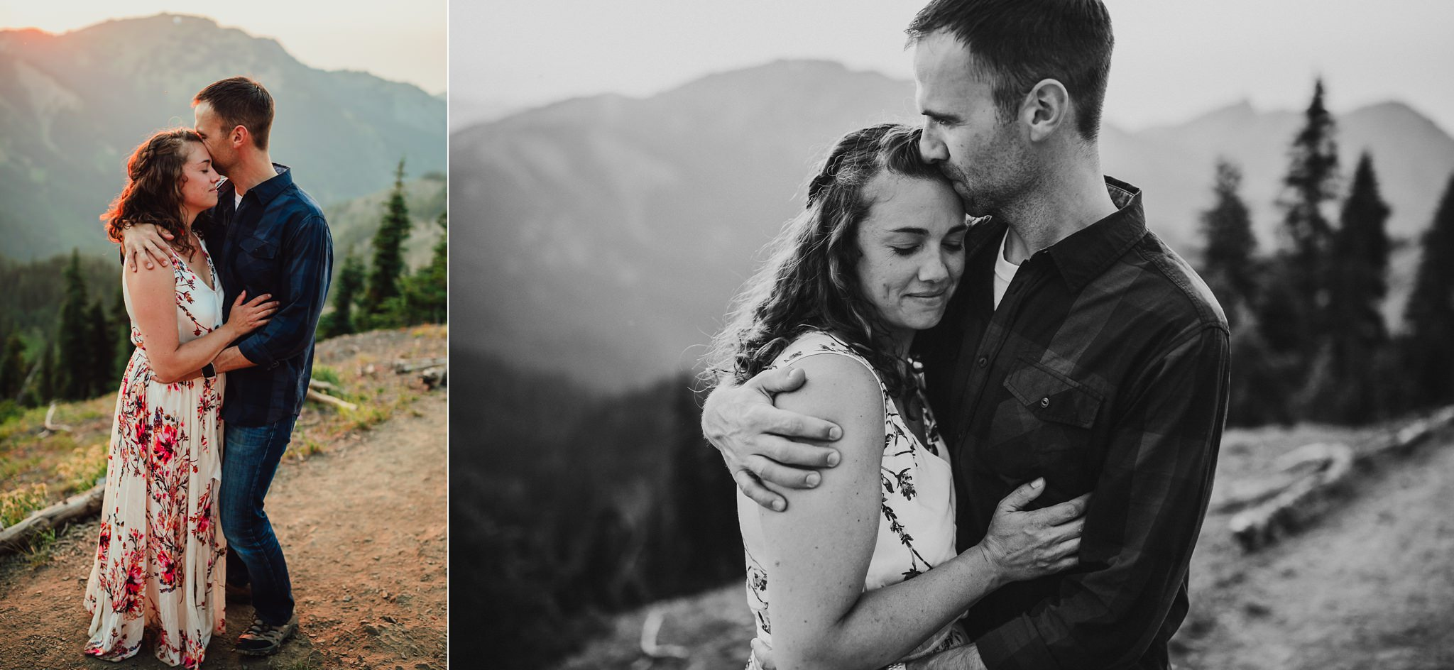 man hugs wife during session at olympic national park