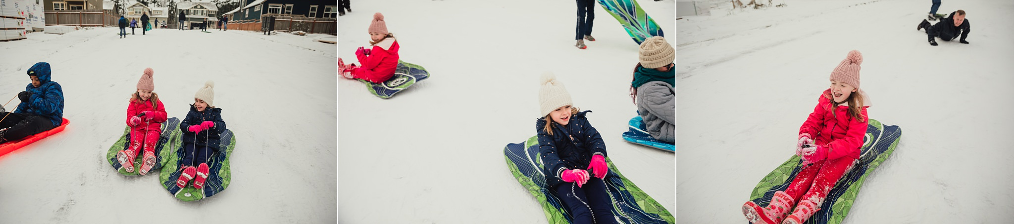 girls sled on hill on Whidbey Island | Seattle photographer