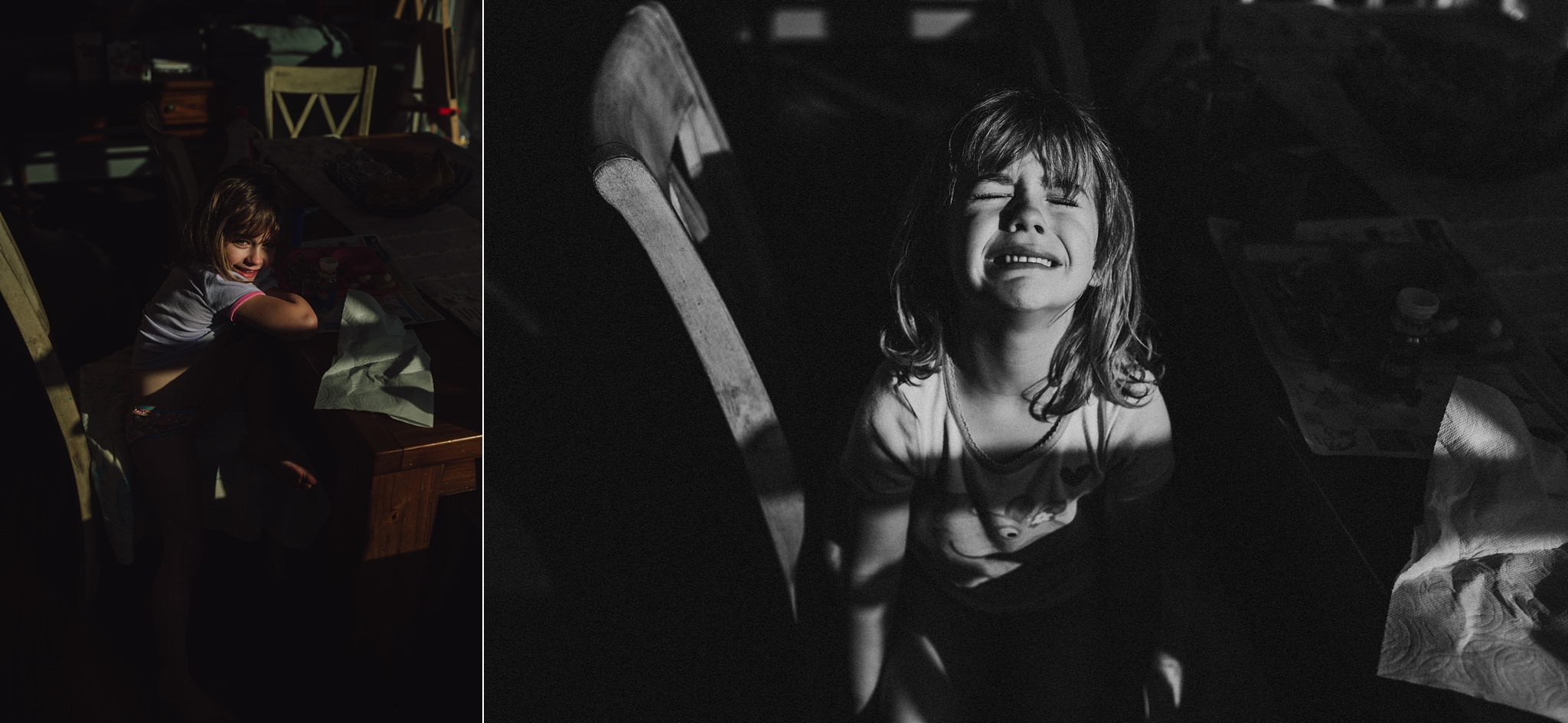 girl makes happy and sad faces in harsh window light | Whidbey Island family photographer