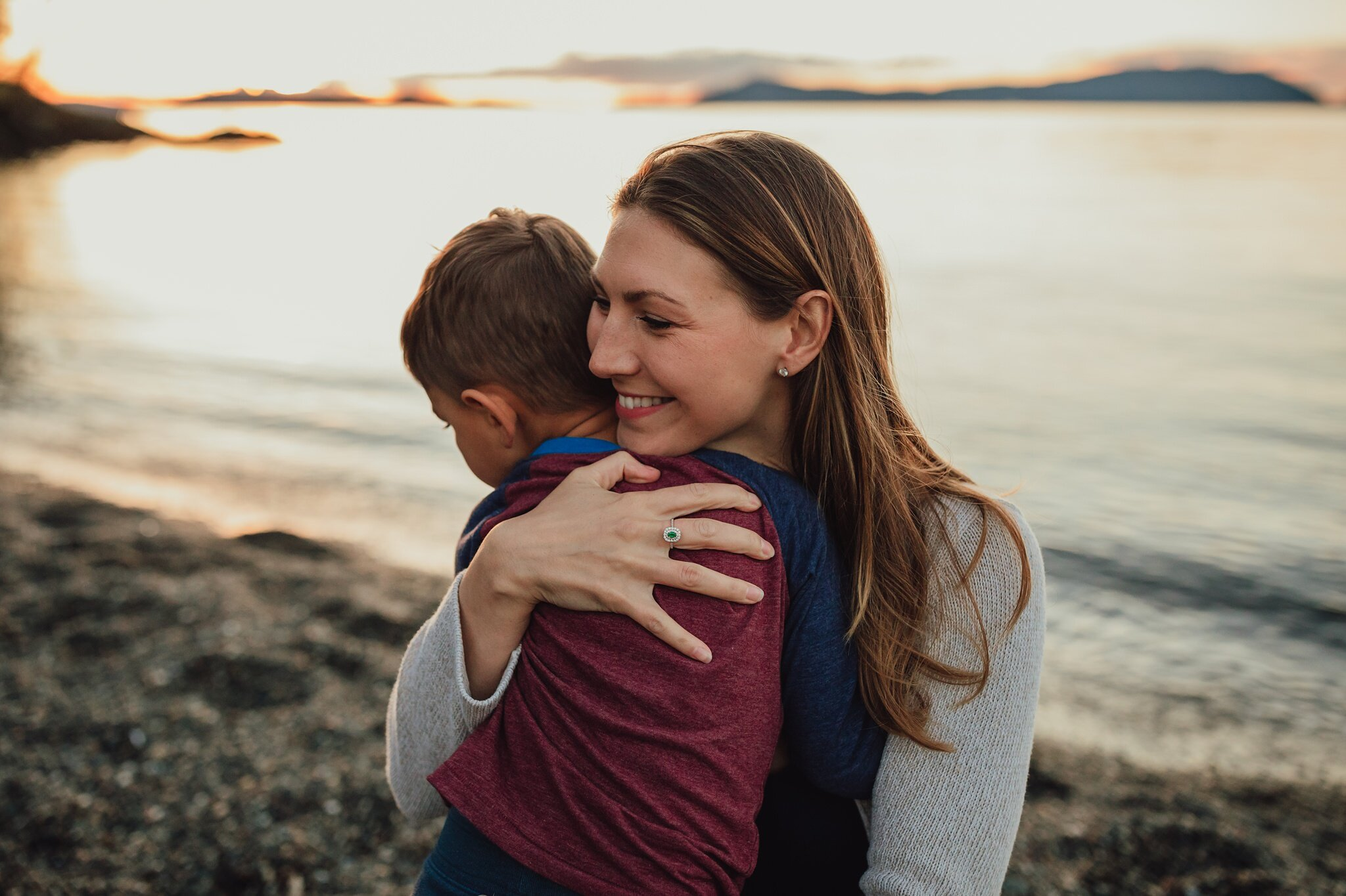 mother and son embrace during photo shoot