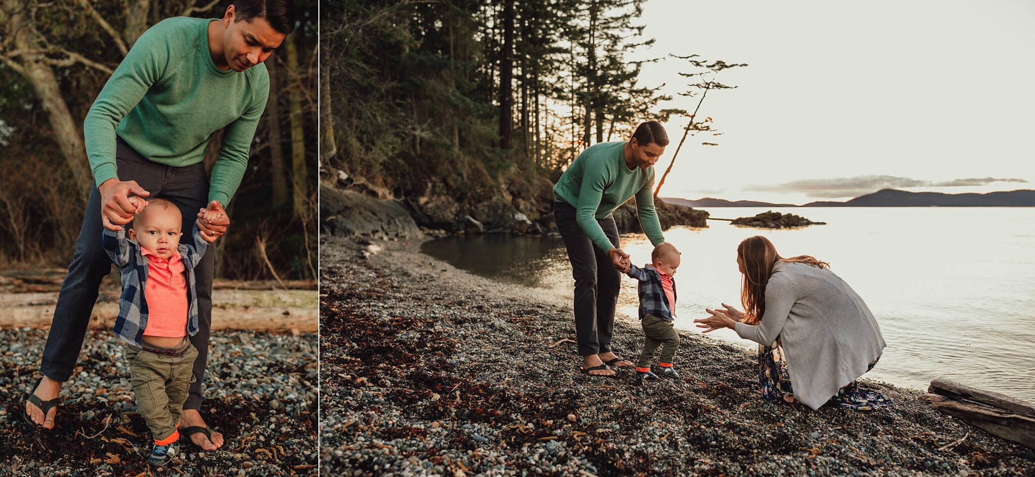 dad helps baby boy walk across beach to mother's arms