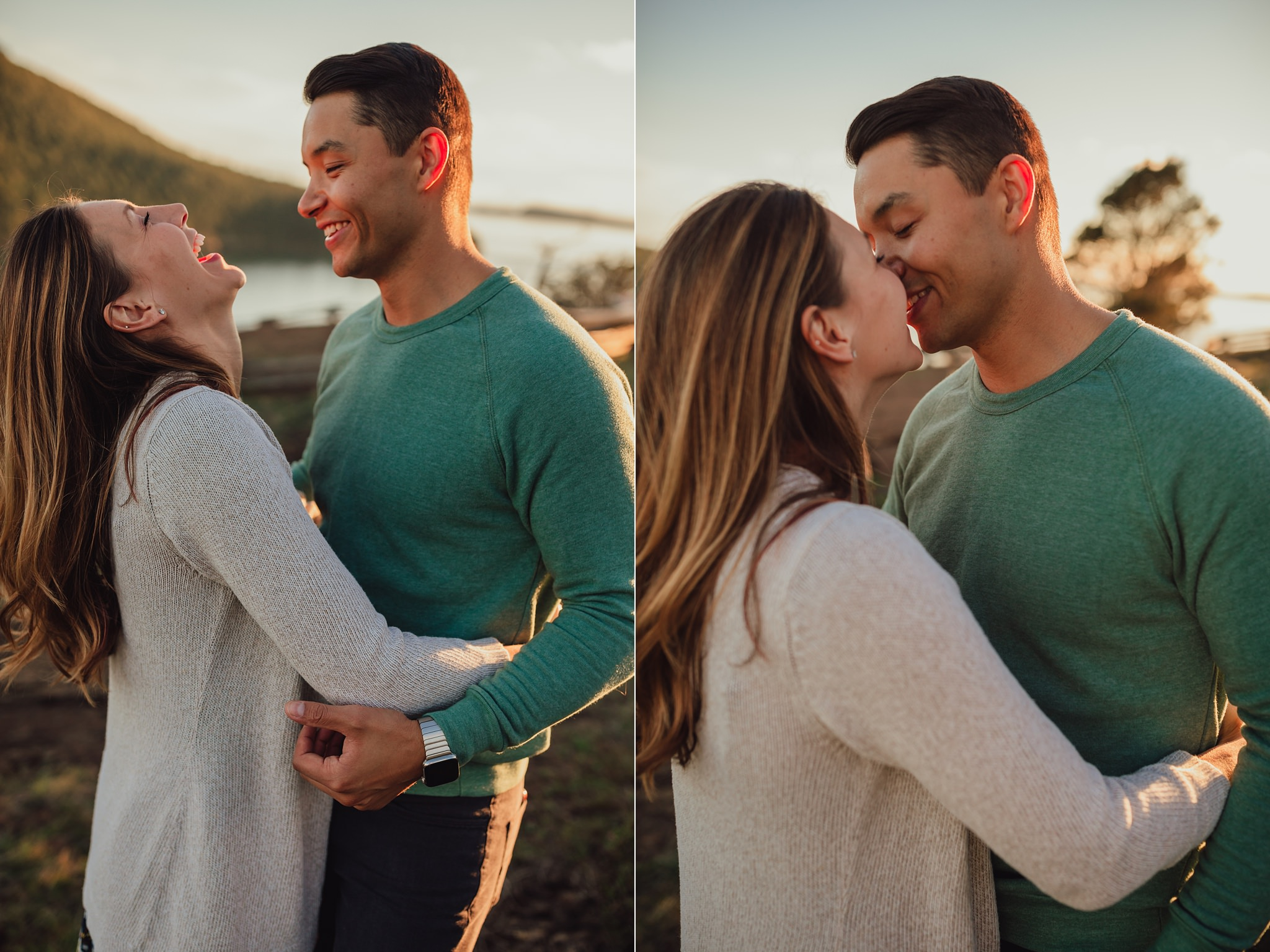 husband makes wife laugh during photo session