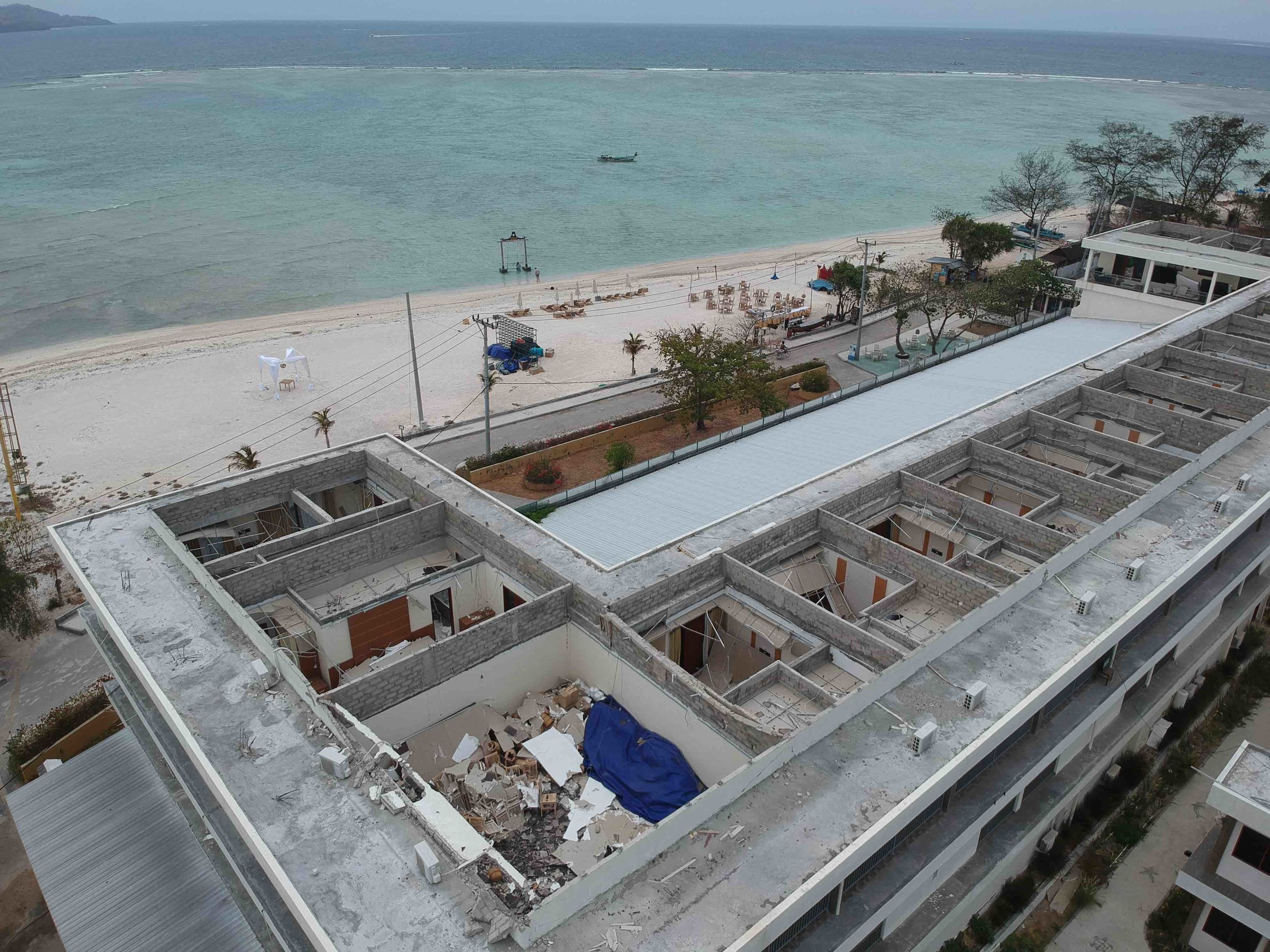 James Buchanan | Ombak Hotel roof completely caved in