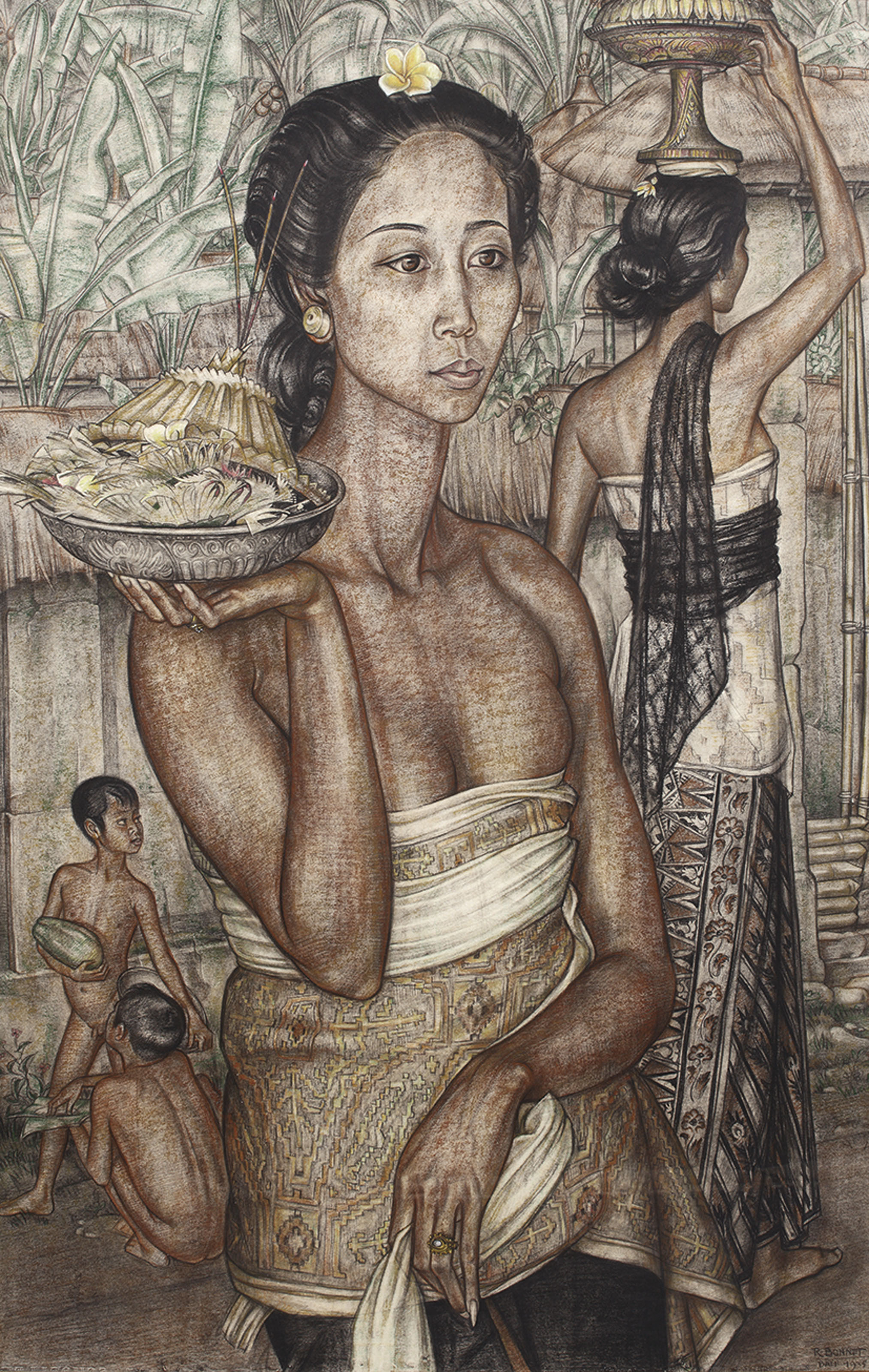 Rudolf Bonnet Painting Of Traditional Balinese Villagers | Christies.com