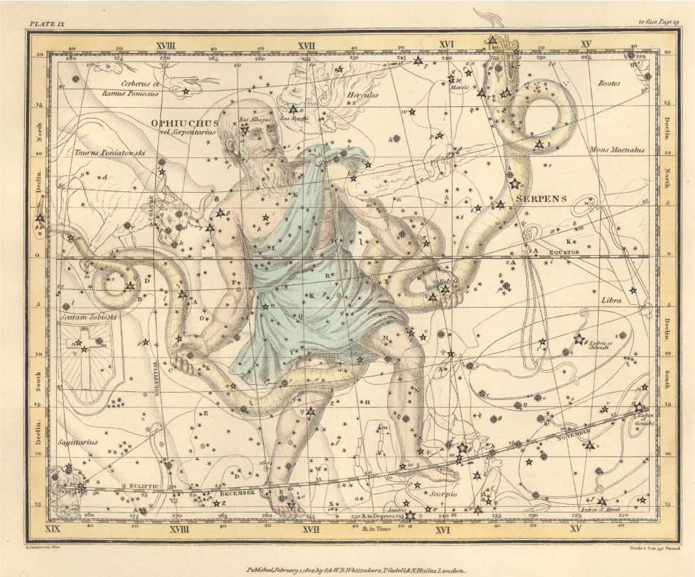 La costellazione dell'Ofiuco o Serpentario  The constellation of Ophiuchus, the Serpent-Bearer     Da /  From : Alexander Jamieson, A Celestial Atlas (...) London, 1822 Credits: Washingston D.C., United States Naval Observatory Library via Wikimedia Commons