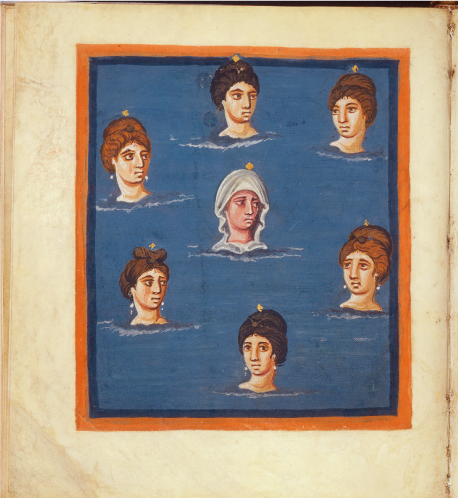 Le Pleiadi come fanciulle /  The Pleiades as maidens     Da /  From : Aratus,   Phaenomena, interprete Claudio Germanico Caesare, intermixtis versibus ex (...), Manoscritto, secolo IX /  Manuscript, 8th century  Credits: Universiteitsbibliotheek Leiden, Fol. 42v  via Wikimedia Commons