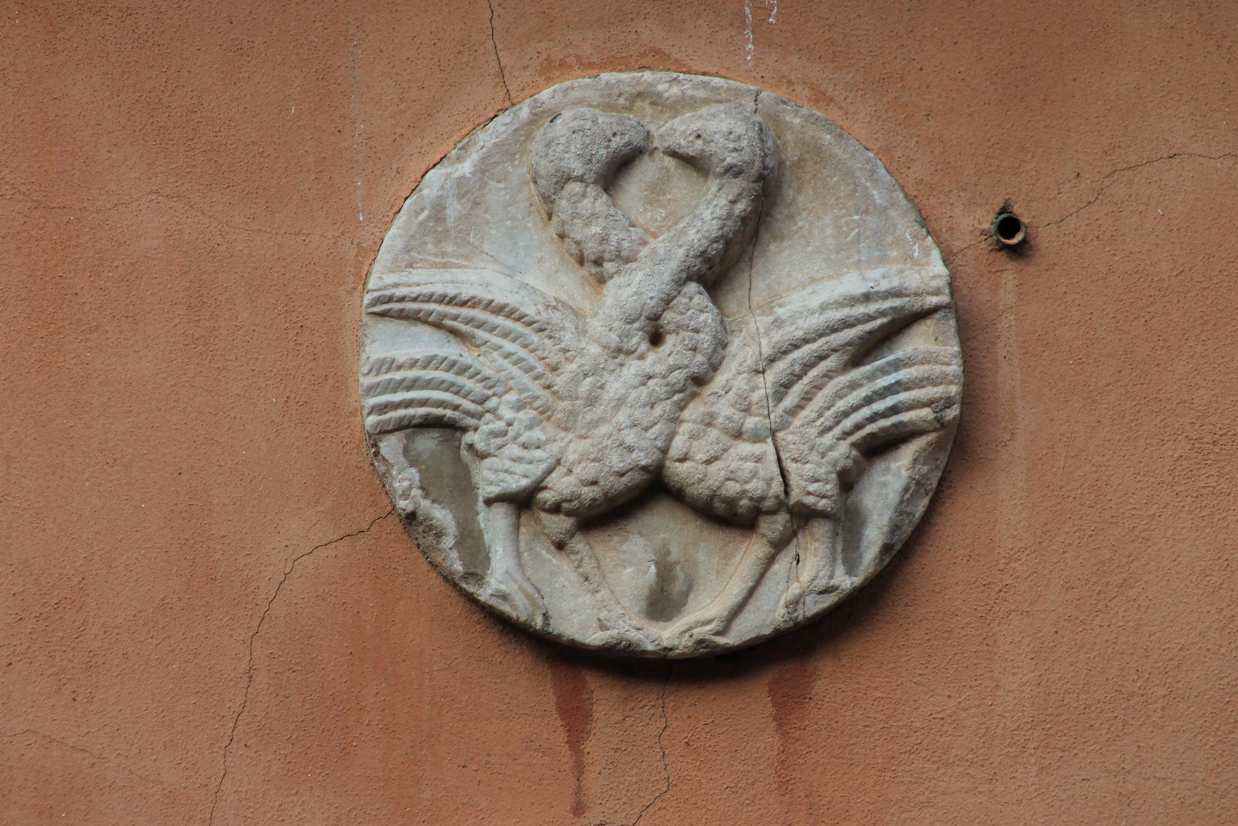 Due uccelli che intrecciano i colli ;  loc. da identificare