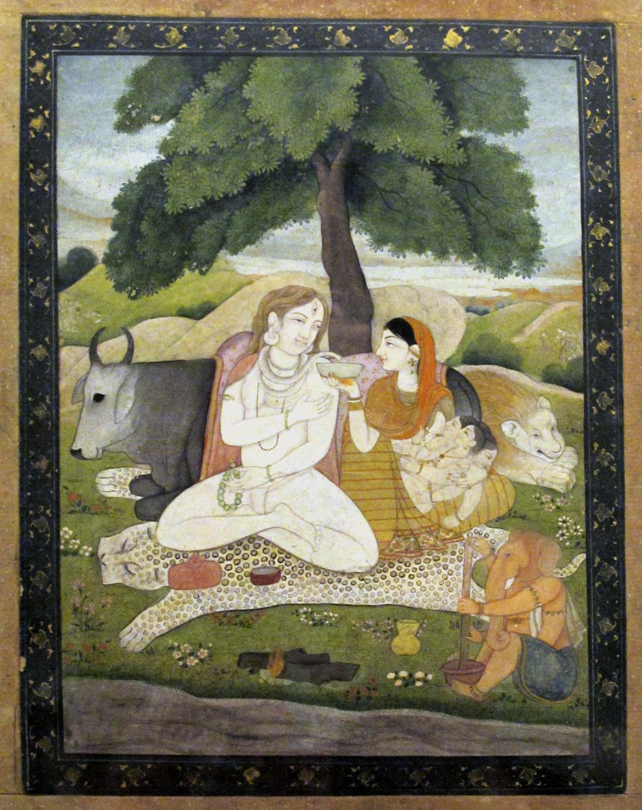 Shiva e la sua famiglia/ Shiva and his family    Acquerello e tempera su carta, fine secolo XVIII/ Watercolor and opaque colors on paper, end of 18th century   Mumbay, Prince of Wales Museum of Western India