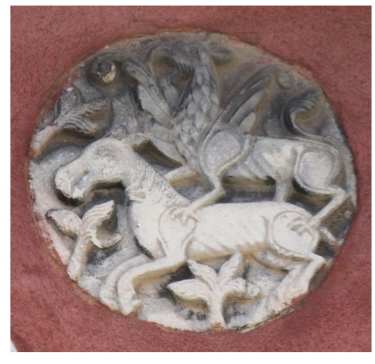 Griffin attacking a horse.  Patera, Greek marble, end 12th-beginning 13th century. Venice, Castello, Fondamenta S.Ana  Photo: Chiara Enzo, 2016