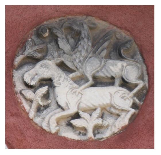 Griffin attacking a foal. 12th-beginning 13th century.  Venice, Castello, Fondamenta S.Ana