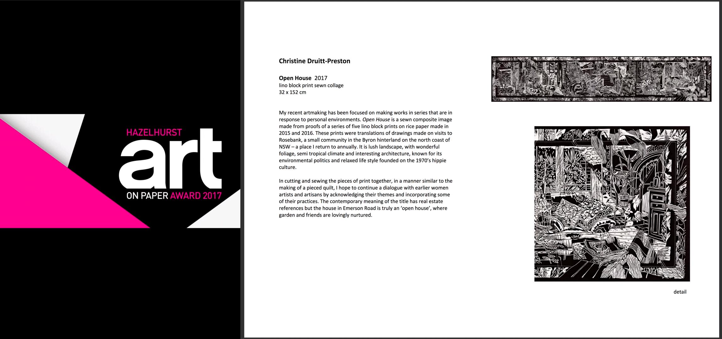 Hazelhurst Art on Paper Award Finalist 2017
