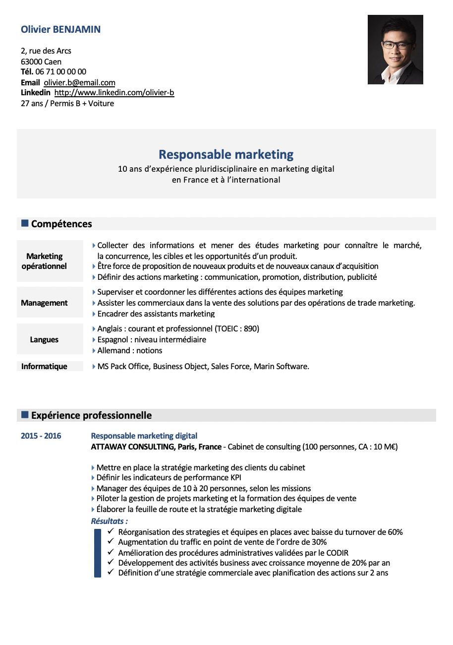 Sur la première page - Informations personnelles, photo, titre du CV, compétences, expérience professionnelle (missions et résultats). Le CV est au format Word et éditable très facilement.