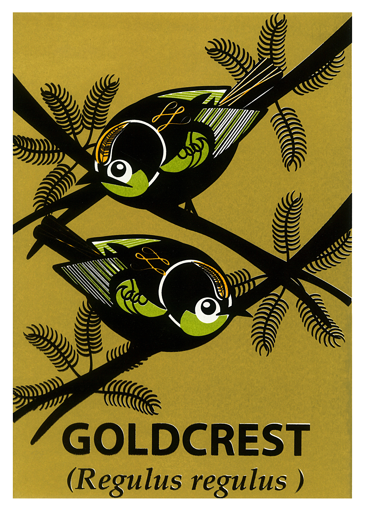 Limited Edition Goldcrest Screenprint