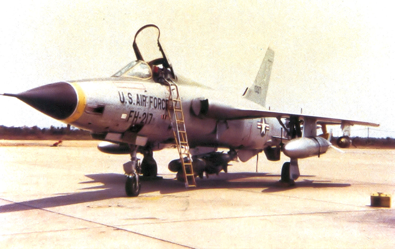 67th TFS Republic F-105D-25-RE Thunderchief 61-0217. On 16 September 1965 Risner was flying this aircraft when he was shot down by anti-aircraft artillery.