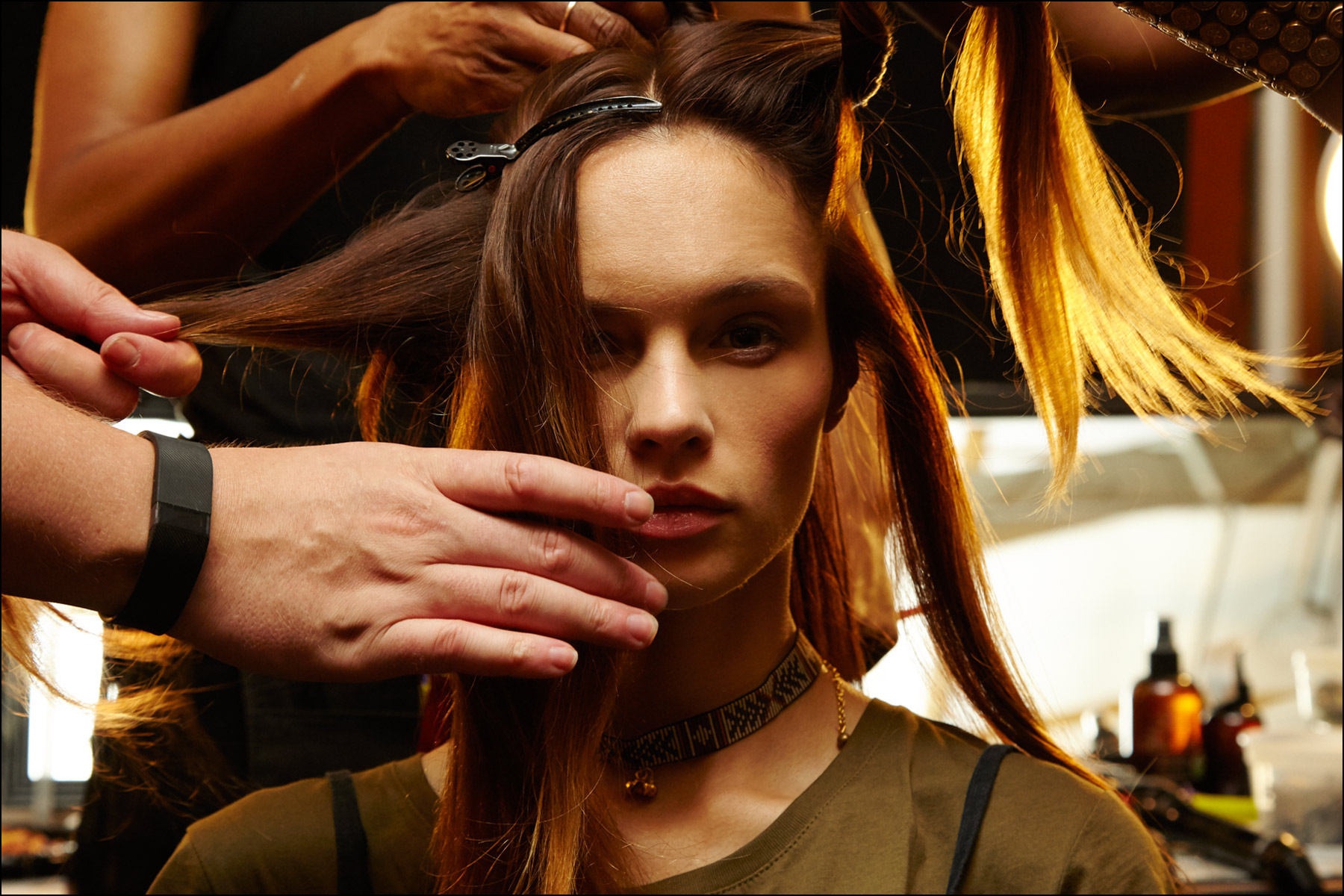 Backstage in hair at Erin Fetherston