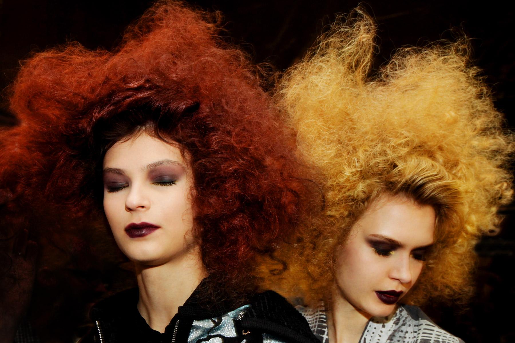 Models with big hair at Badgley Mischka