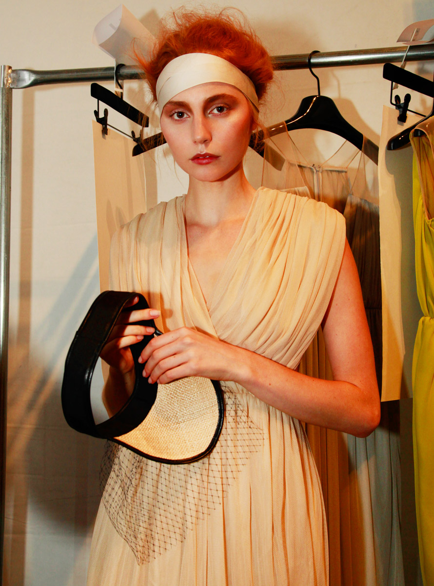A model backstage at Chadwick Bell