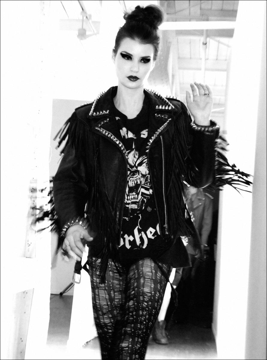 Model backstage at Christian Benner