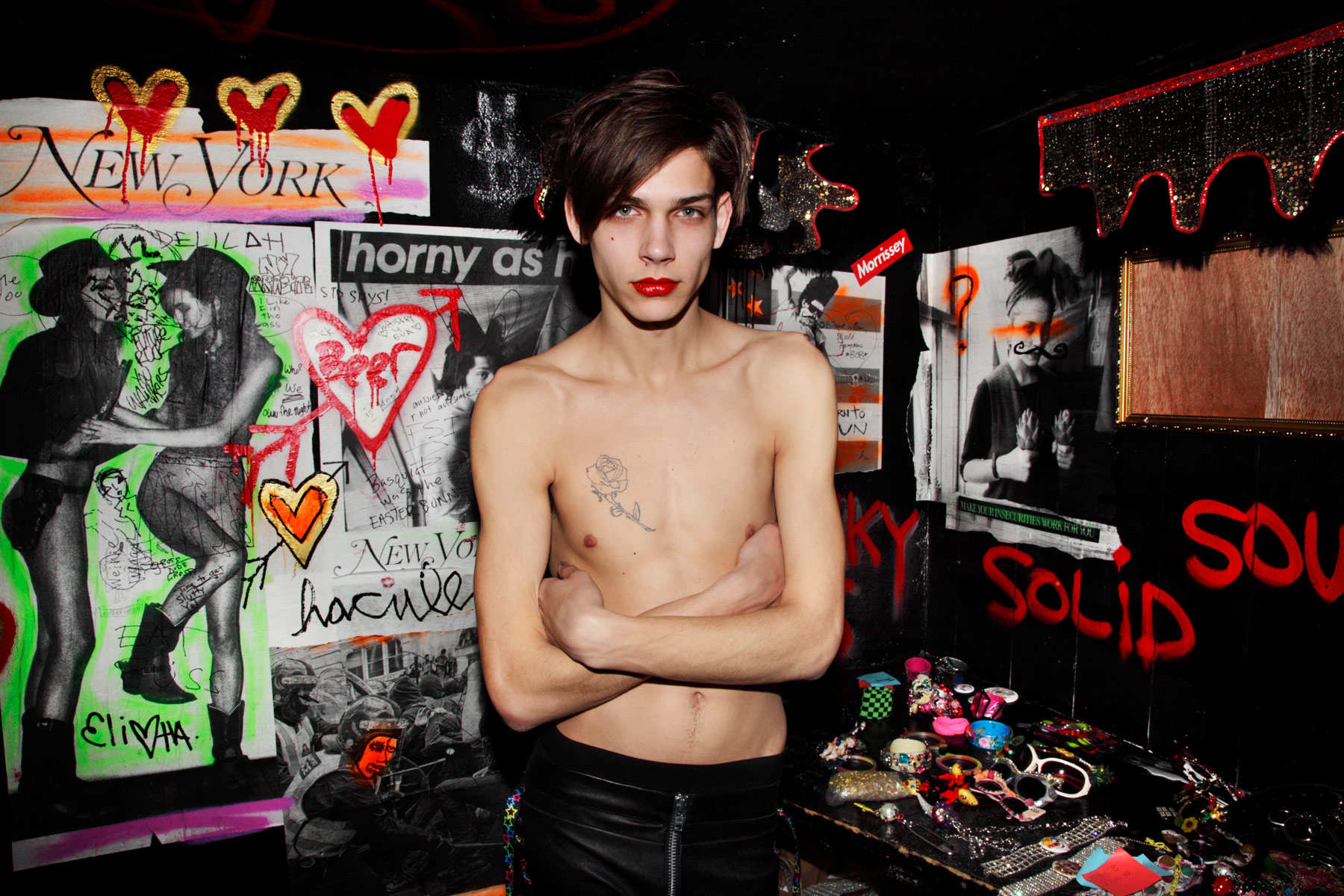 Male model in red lipstick