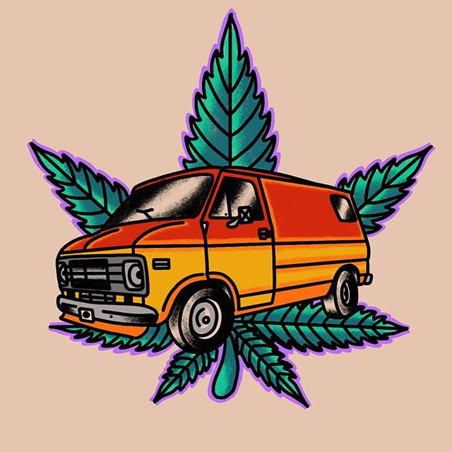 Rollin' Stoned... I would love to tattoo this. Walk-ins welcome. @highhandstattoo #vannin #chevyvan #boogievan #tattoo #newmexico #getstoned