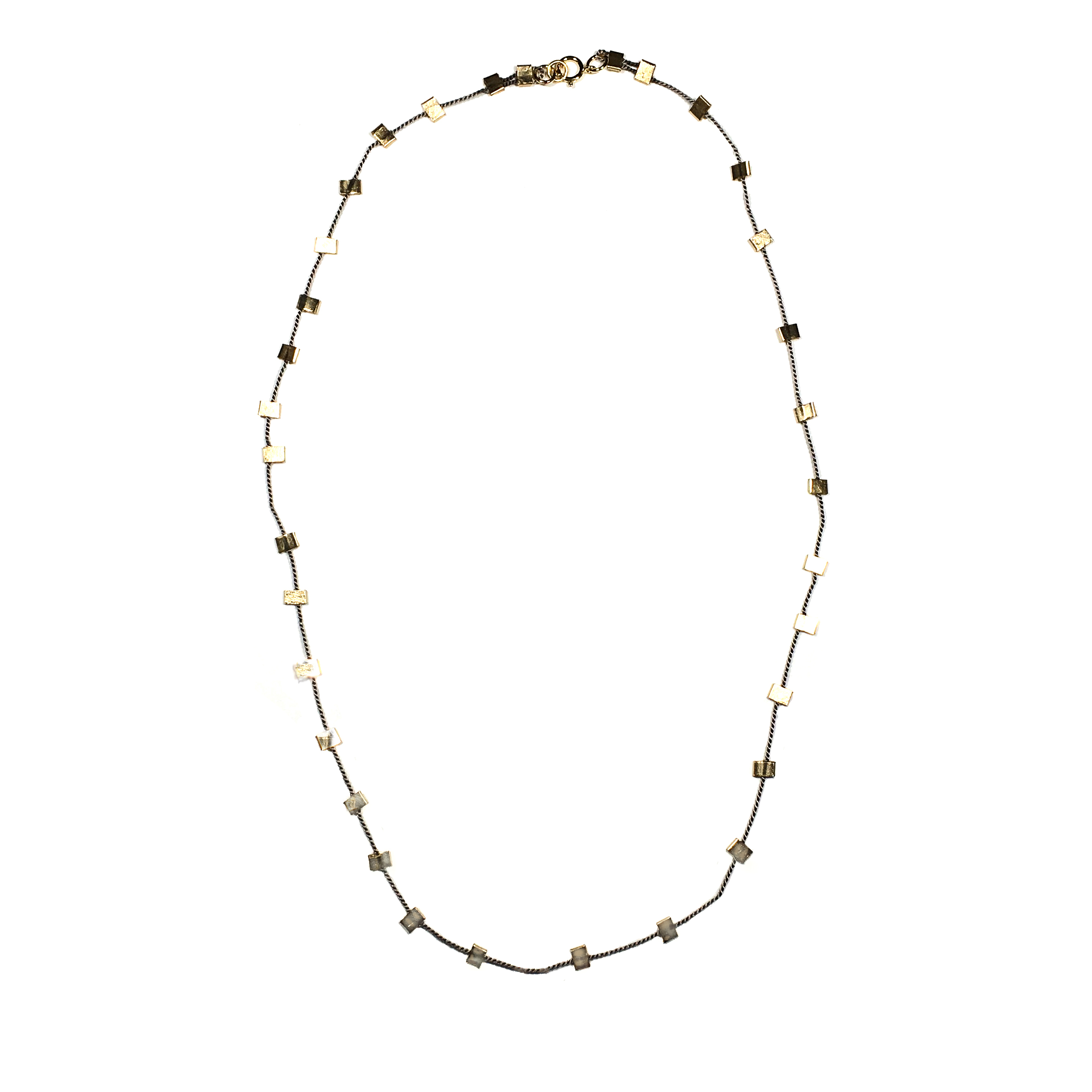 """Gold-fill Crimp on Silk Necklace, 22"""" approx."""