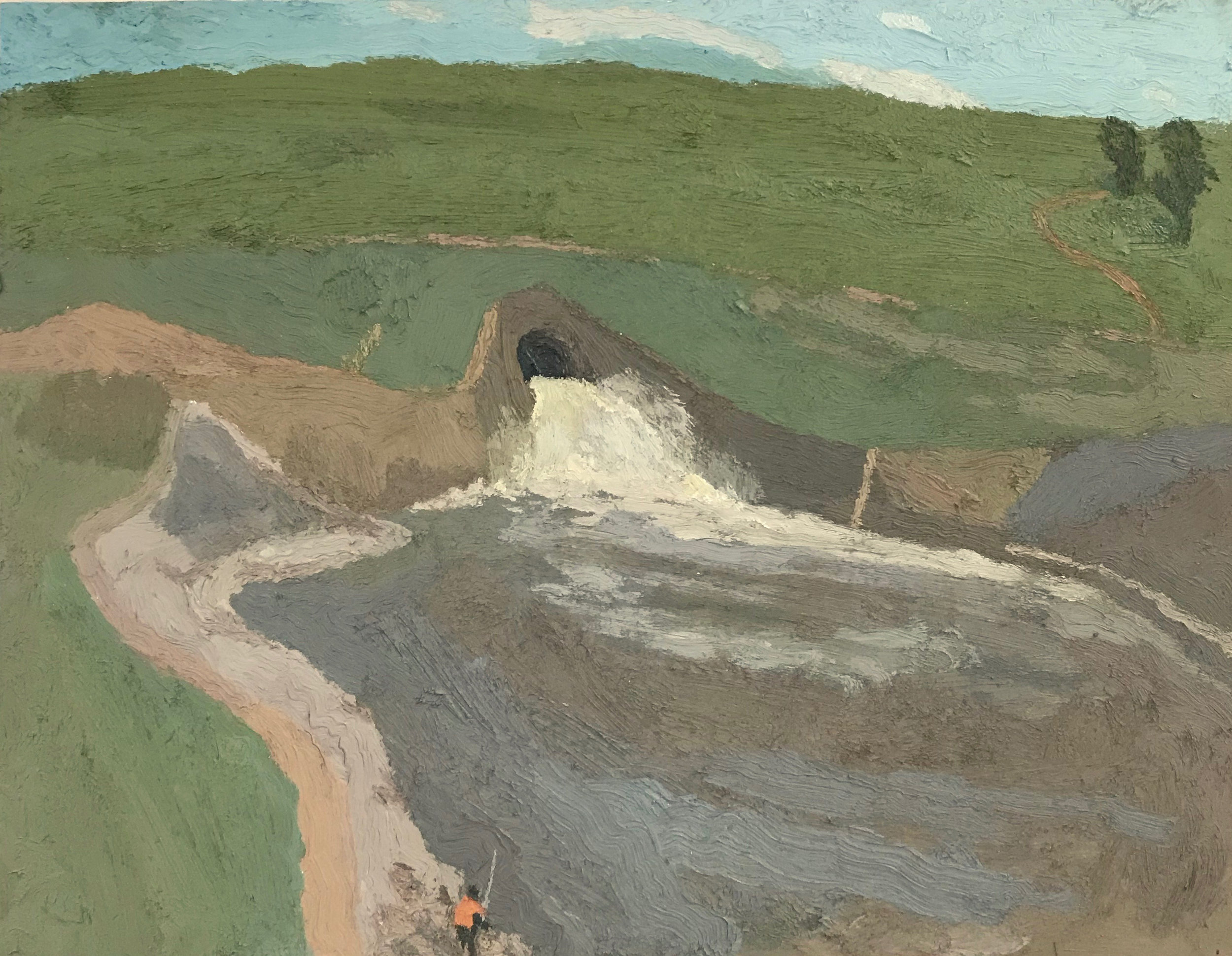 Fisherman and Spillway