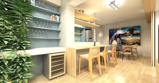 Projetos para apartamentos novos e reformas. Entre em contato. 📷 Espaço para receber e cozinhar com amigos do apartamento Apartamento JC