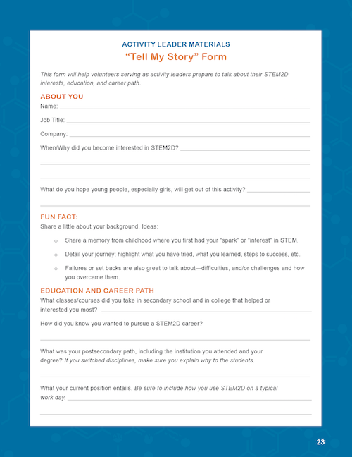 """""""Tell My Story"""" Form"""